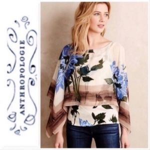 Anthropologie Tiny Floral Tiered Blouse Size L